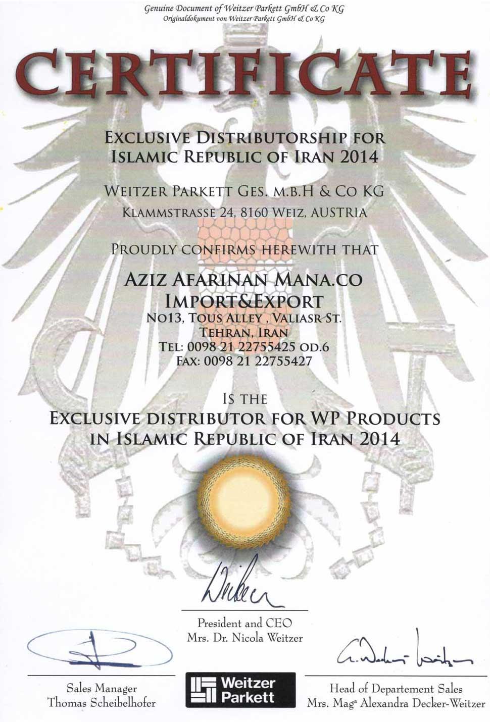 Weitzer-Certificate